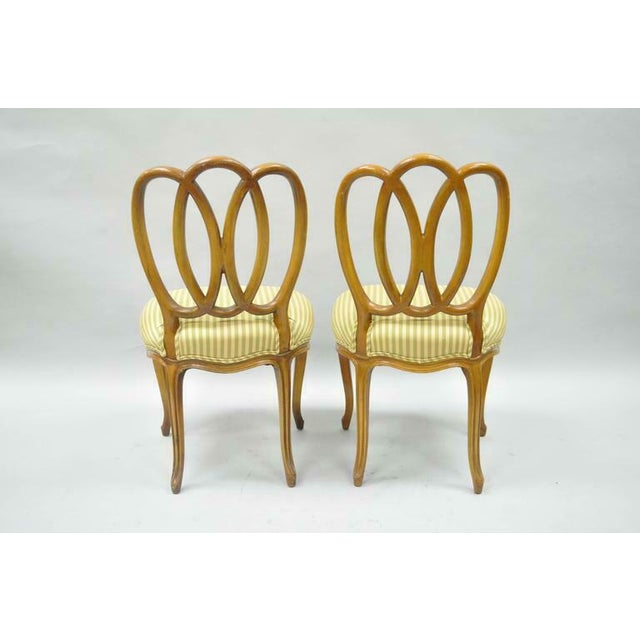 1950s Vintage French Provincial Triple Oval Pretzel Back Walnut Dining Chairs- Set of 6 For Sale - Image 9 of 11