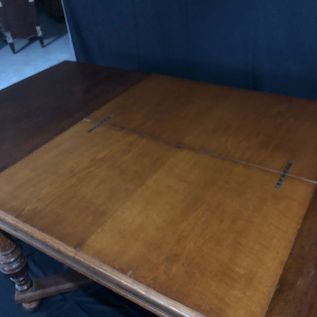 Carved Oak Arts and Crafts Art Deco French Expandable Dining Table For Sale - Image 12 of 13