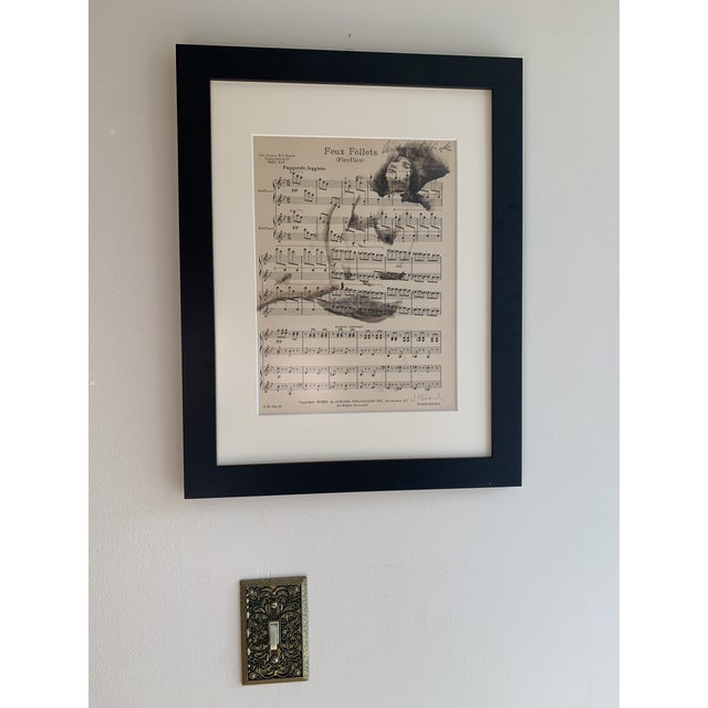 """Shabby Chic Vintage """"Feux Follets"""", Fireflies Music Sheet Nude Painting For Sale - Image 3 of 8"""