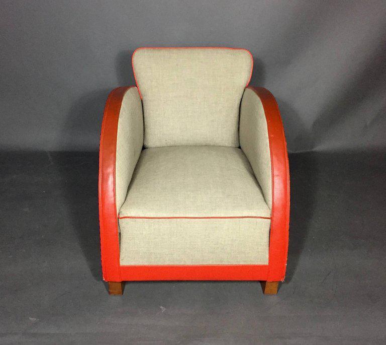 1930s Art Deco Club Chair, In Early Original Naugahyde   Image 3 Of 9