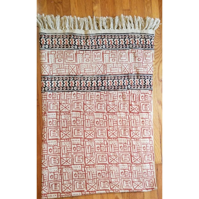 2000 - 2009 Hand Woven Block Printed Throw For Sale - Image 5 of 5