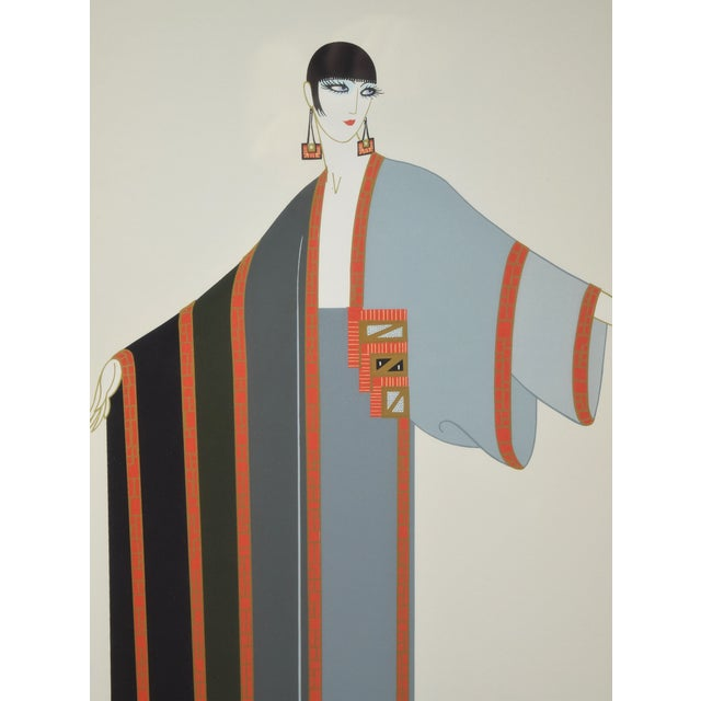 """Art Deco Erte """"Michelle"""" French Art Deco Flapper Limited Edition Screenprint Signed For Sale - Image 3 of 6"""