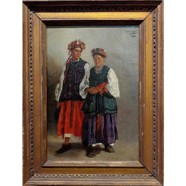 "Russian Wedding - original 19th century Oil painting frame size 12 x 17"" canvas size 9 x 13"" oil painting on canvas -laid..."