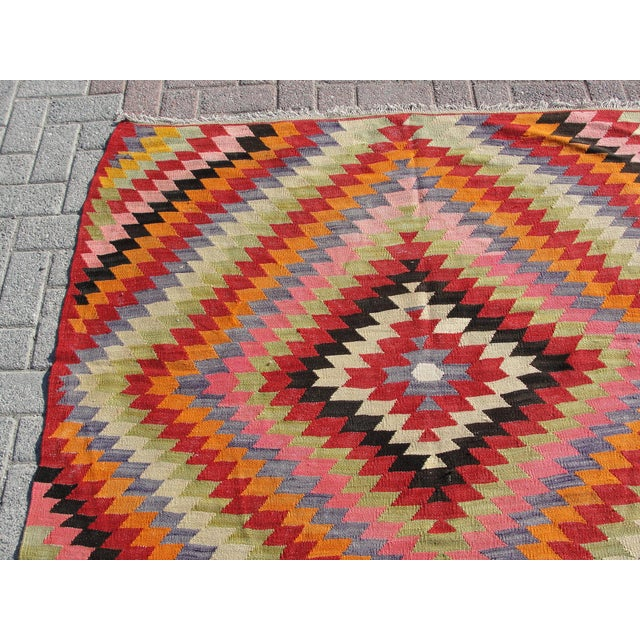 Vintage Turkish Kilim Rug - 5′5″ × 8′7″ For Sale - Image 4 of 11