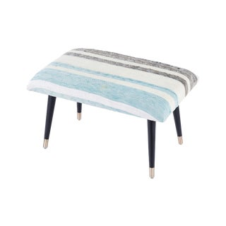 Pasargad Home Bosphorus Collection Blue & Gray Kilim Cover Ottoman For Sale