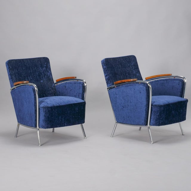 Bauhaus Pair Bauhaus Steel and Wood Club Chairs For Sale - Image 3 of 11