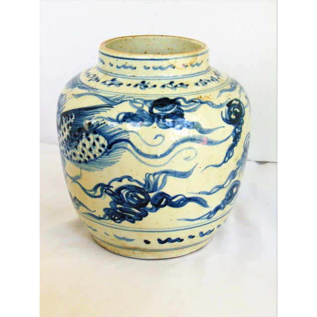 Asian Blue & White Phoenix Storage Jar For Sale - Image 3 of 7