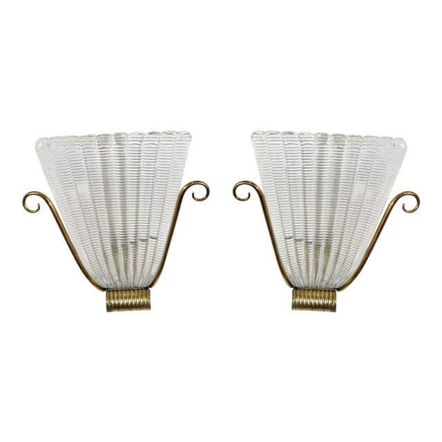 1950s Brass and Rippled Murano Glass Wall Sconces - a Pair For Sale
