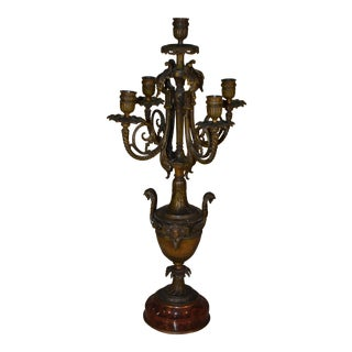 19th Century Antique French Empire Bronze Urn Marble Candelabra For Sale