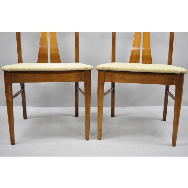 Vintage Mid-Century Modern Curved Back Walnut Dining Chairs - Set of 4 For Sale - Image 9 of 12