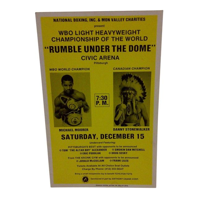 """Rumble Under The Dome"" 1990 Vintage Boxing Poster For Sale"