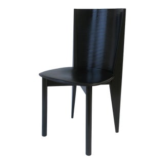 Italian Designer Postmodern Black Lacquer Wood and Leather Side Chair For Sale