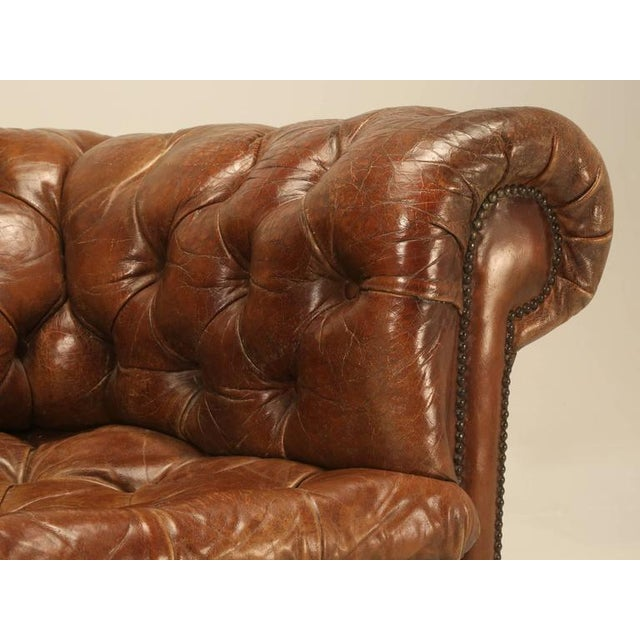 Original Leather Antique Chesterfield Chair For Sale - Image 9 of 11
