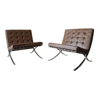 Solid Stainless Steel 1971 Knoll Barcelona Chairs - a Pair