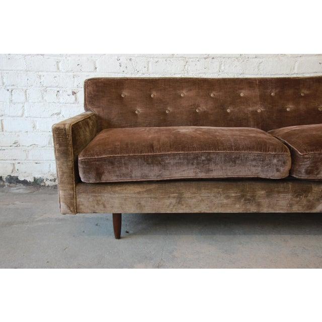 Baker Furniture Company Baker Furniture Mid-Century Tufted Brown Velvet Sofa For Sale - Image 4 of 12