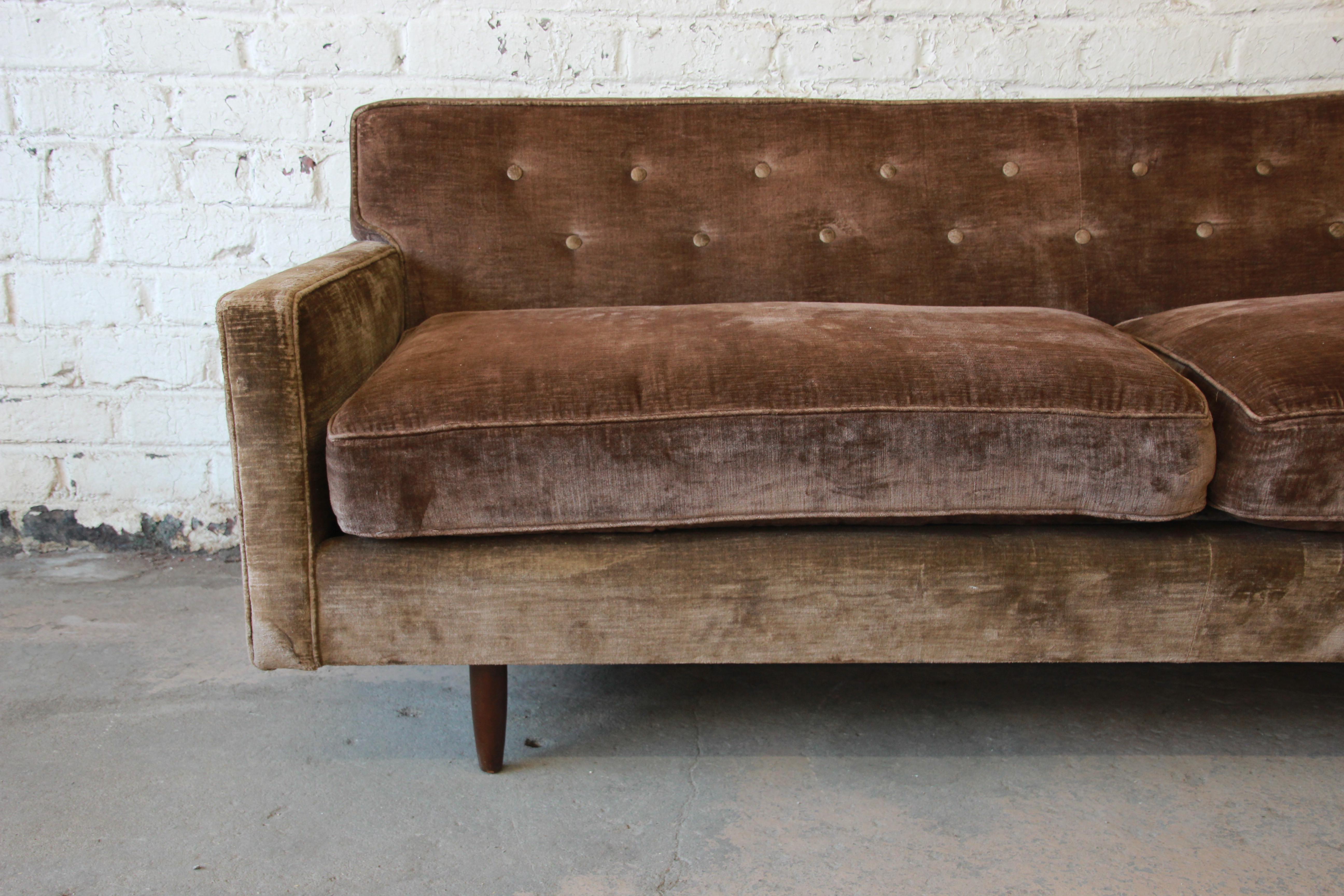 Baker Furniture Company Baker Furniture Mid Century Tufted Brown Velvet Sofa  For Sale   Image