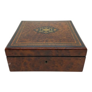 Antique Belle Époque Burl Walnut Box With Brass, Ebony Inlay, French, Ca. 1880 For Sale