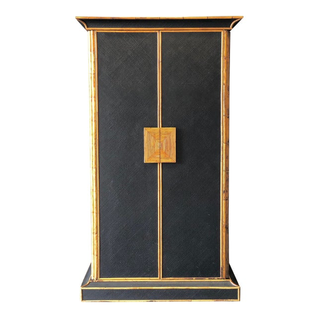 Empire Bamboo & Grass Armoire For Sale