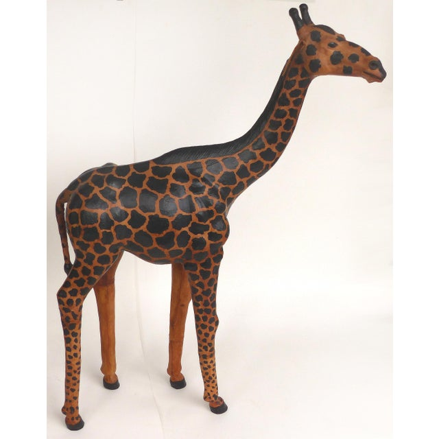 4 Foot Tall Leather Giraffe Sculpture For Sale - Image 11 of 11