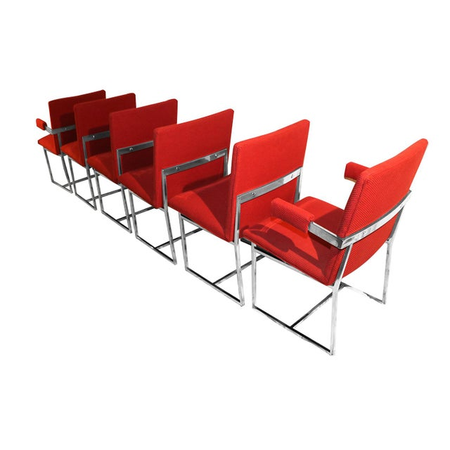 Stunning set of six Mid Century Modern polished Chrome Upholstered Dining Chairs comprised of square sectioned polished...