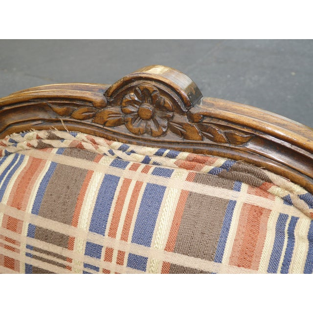 Vintage French Country Carved Wood Brown Orange Plaid Chairs - A Pair - Image 7 of 10