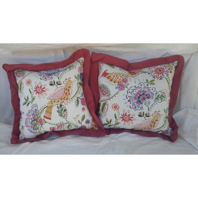 Bird and Floral Pillows - A Pair - Image 2 of 4