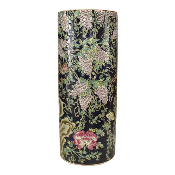 Asian Chinese Porcelain Cylindrical Shaped Umbrella Stand For Sale