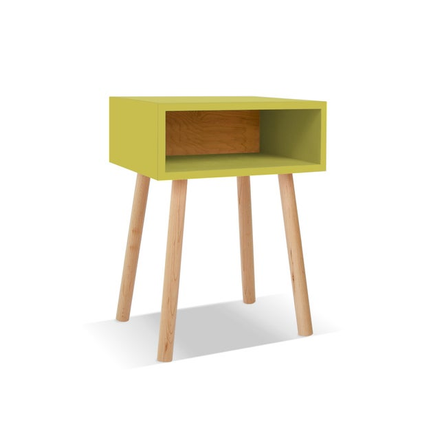 Modern Nico & Yeye Minimo Modern Kids Nightstand in Hardwood and Green For Sale - Image 3 of 3