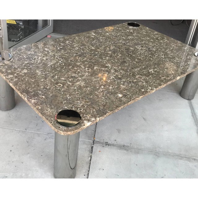 Vintage Modern Stone and Chrome Coffee Table by Pace Collection For Sale In Palm Springs - Image 6 of 7
