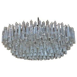 Signed Camer Glass Prism Mid-Century Chandelier, 1960s For Sale