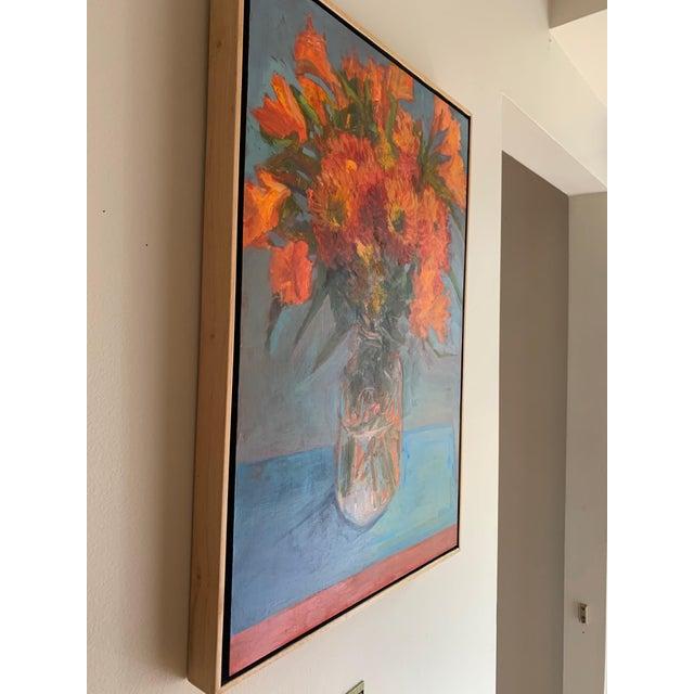 "Wood ""Orange Dahlias"" Oil Painting For Sale - Image 7 of 8"