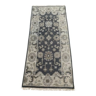 """Turkish Vintage Dyed Oushak Gray Wool Rug- 32"""" X 60"""" For Sale"""
