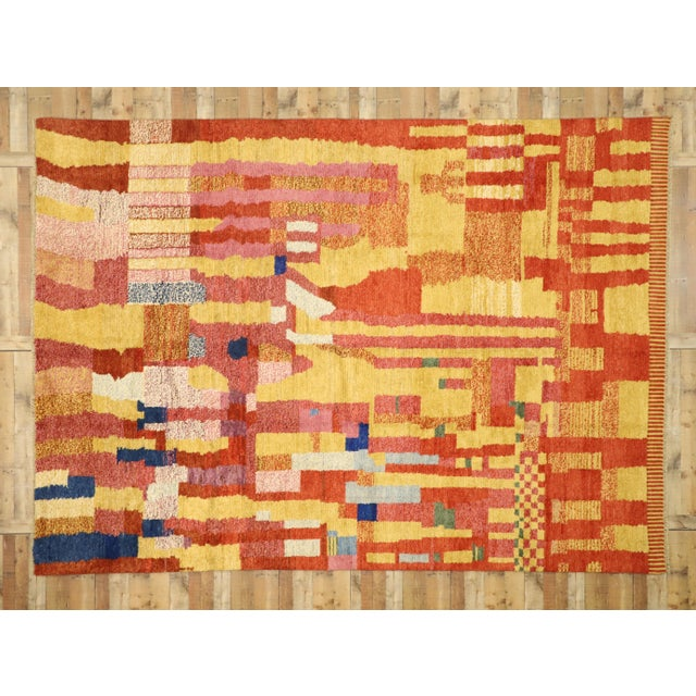 Red Moroccan Contemporary Rug - 09'11 X 13'11 For Sale - Image 8 of 10