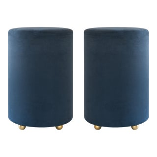 Artifact Accent Ottomans in Navy Premium Faux Suede by Object Refinery- Pair