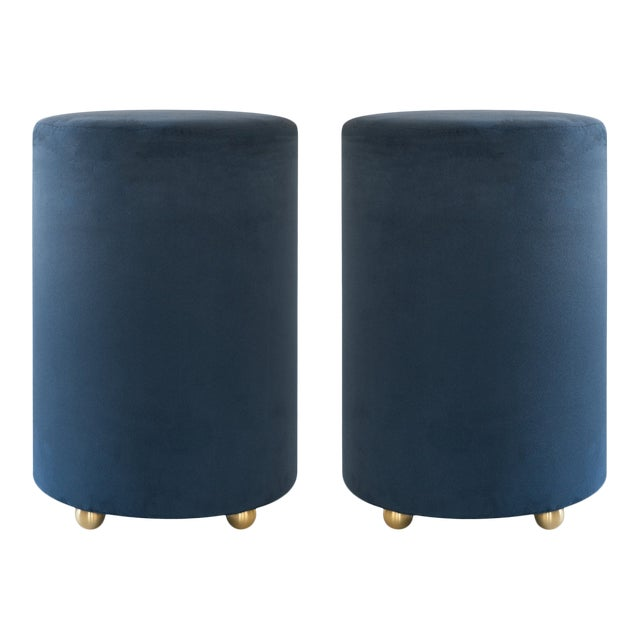 Artifact Accent Ottomans in Navy Premium Faux Suede by Object Refinery- Pair For Sale