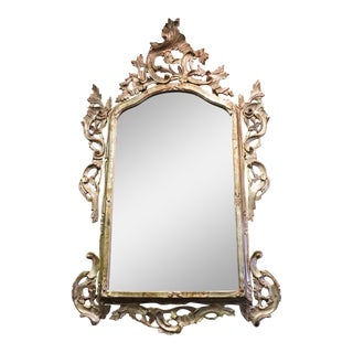 20th Century Italian Louis XV Style Silvered Wood Antique Wall Mirror For Sale