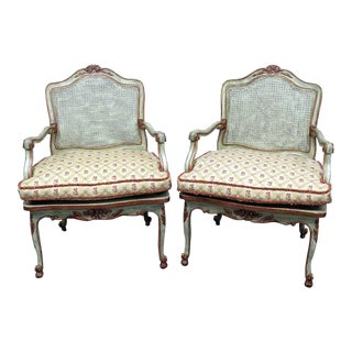 Louis XV Style Caned Armchairs - a Pair For Sale