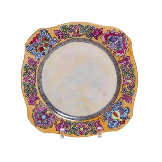 Hand-Painted Porcelain Plate with Moorish Design For Sale