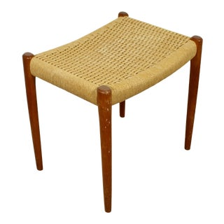 Mid-Century Danish Modern Teak & Rattan Cord Stool Bench Seat by Niels Moller C. 1960s For Sale