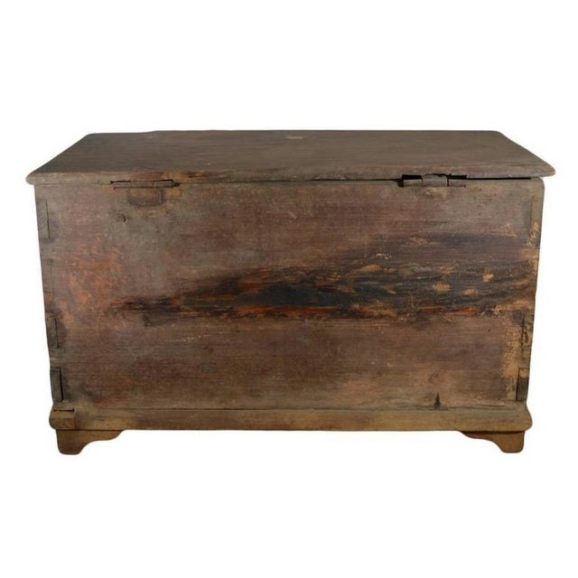 Green Antique Indonesian Hand-Carved and Painted Trunk with Foliage's, 19th Century For Sale - Image 8 of 9