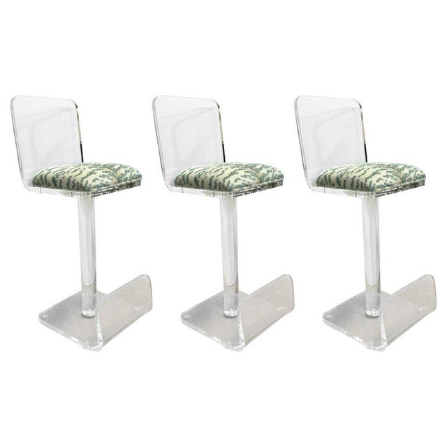 Set of Three Vintage Lucite Bar Stools, Newly Upholstered Seat For Sale - Image 13 of 13