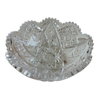 Antique 1853 J. Hoare & Co. Abcg Lead Crystal Low Bowl For Sale
