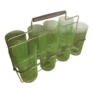 1960s Mid-Century Modern High Ball Glasses With Carrier - Set of 8 For Sale