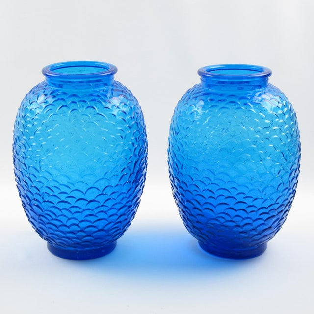 Glass Pierre d'Avesn for Cristallerie Choisy-Le-Roi Blue Molded Glass Vase, a Pair For Sale - Image 7 of 7