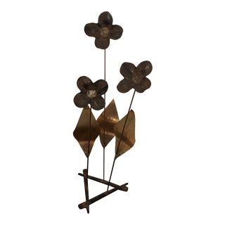 1960s Boho Chic Metal Flower Sculpture For Sale