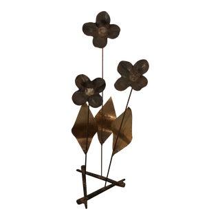 1960s Boho Chic Metal Flower Sculpture