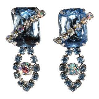 1950s Ballet Blue Rhinestone Dangle Earrings Vintage For Sale