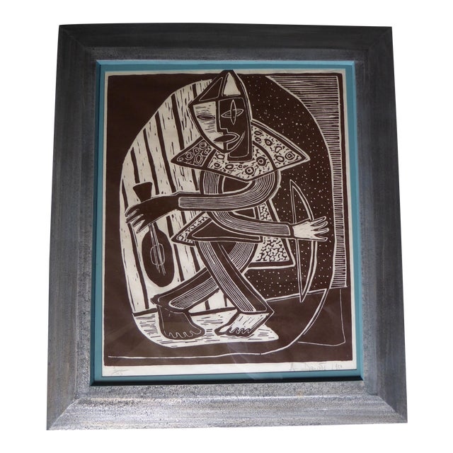 Original Mid Century Cubist Woodblock - Image 1 of 7