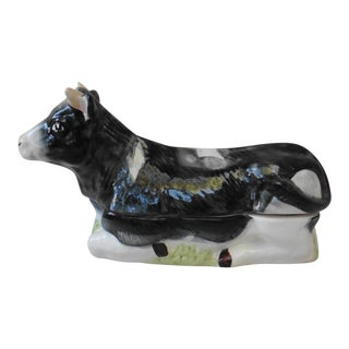 Majolica French Ceramic Cow Tureen For Sale