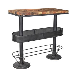 Reclaimed Wood Industrial Bar Table